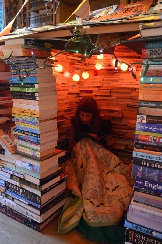 writerystuff: Possibly the ultimate book fort. / Tea, Coffee, and Books